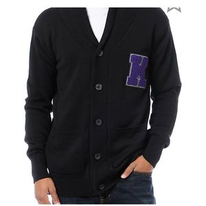 "KR3W Black cardigan with purple ""K"""